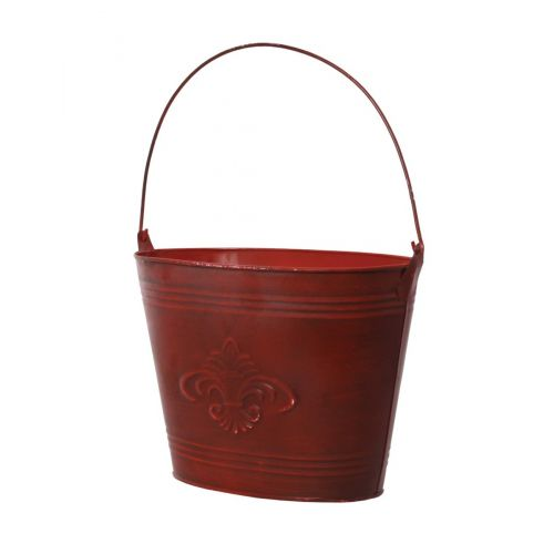 "These red antique pail planters are available in a set of 3 and each come in a different size (10""x6""x8"", 12""x7""x8"", 13""x7""x9"")."