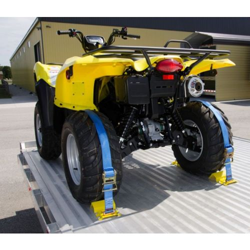 Secures the front and back of your ATV or lawn mower's rear wheels firmly to a trailer bed.