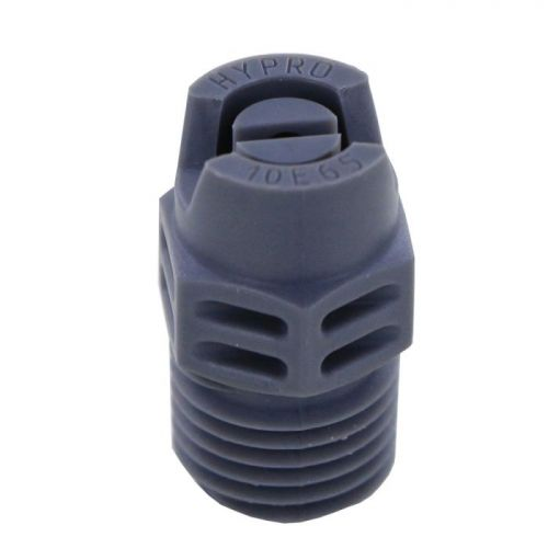 """Hypro FanJet 65 Degree Spray Nozzles shown with new grey color. Comes with a 1/4"""" national pipe thread. These nozzles are very common in industrial and car wash applications, but can be used for many purposes including agriculture and landscaping."""