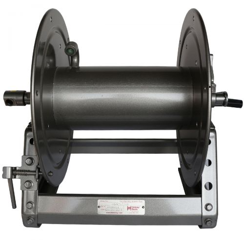 Hannay Manual Rewind Hose Reel:  The heavy duty 12 inch long drum can accommodate 200' of 1/2 inch hose!