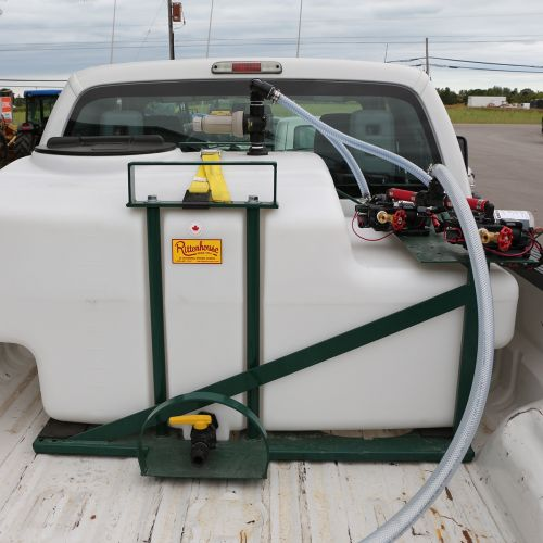 200 US Gallon Electric De-Icing Sprayer shown in the back of a pickup truck.