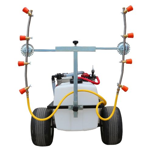 Trailed Raspberry, Blueberry, or Vineyard Sprayer. The vertical booms have 4 conejet nozzles on each of the adjustable width of booms.