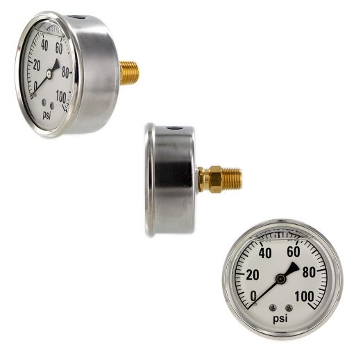 100 PSI back mount pressure gauge - notice the back mount- easily installed with a wrench.