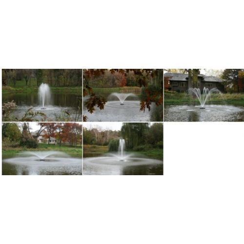 5 decorative fountain patterns generated by the Kasco 4400JF and 4400HJF Aerating Fountains.