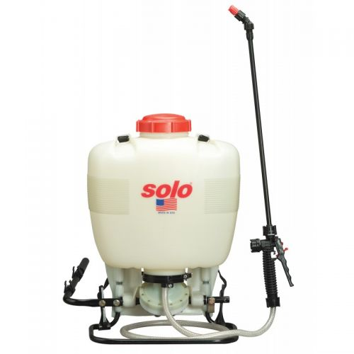 A professional-grade 4 US gallon backpack sprayer specifically designed to handle bleach and liquid formulations, as well as wettable powders.