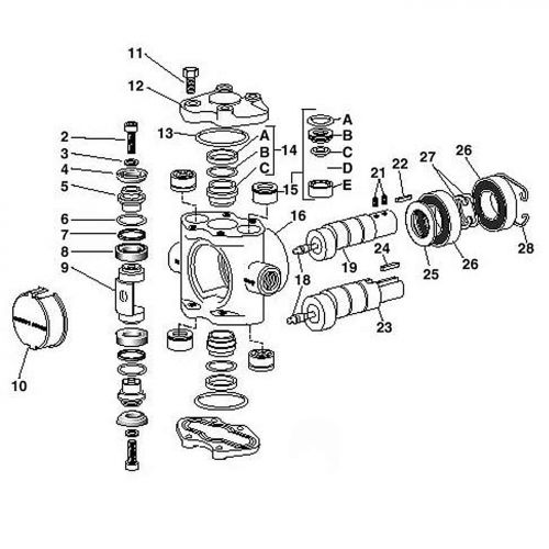 Parts breakdown for the Hypro 5324 Plunger / Piston Pump.
