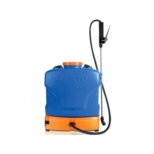 "Battery-powered backpack sprayer with 4 US gallon tank capacity, large 4.5"" filler opening, and heavy-duty spray wand."