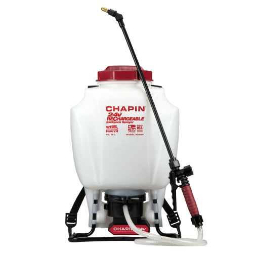 Chapin 63924 Rechargeable 24V Battery-Powered Backpack Sprayer with 4 US gallon tank capacity.