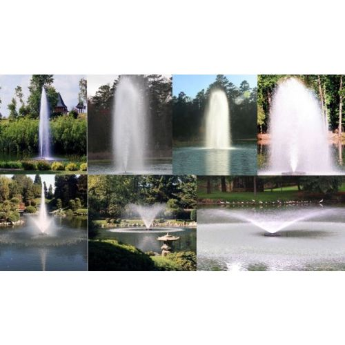 Seven different fountain patterns produced by the Kasco 5.3JF Decorative Aerating Fountain.