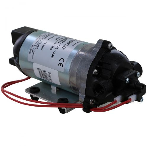 A low pressure demand pump with 12V DC electrical power for agricultural spraying and fluid transfer.