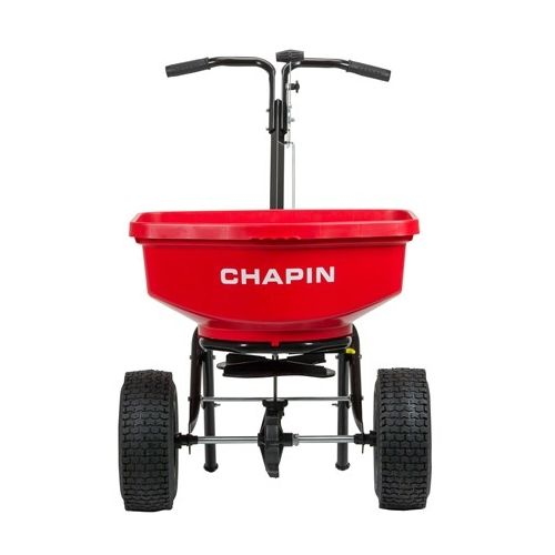 The Chapin 8301C Contractor Turf Spreader with adjustable rotary gate to accommodate to a range of materials, including granular fertilizers, seed, and more.
