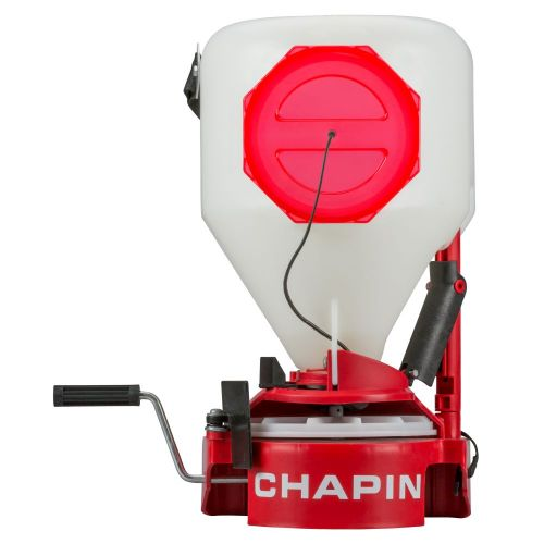 Chapin 8700A Chest-Mounted Spreader for grass seed and granular spreading.