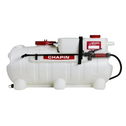 Chapin 97561 ATV Spot Sprayer with a 25 US Gallon water tank and 2 US Gallon chemical concentrate tank.