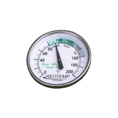 For measuring the interior temperatures of compost piles or soil in Fahrenheit.