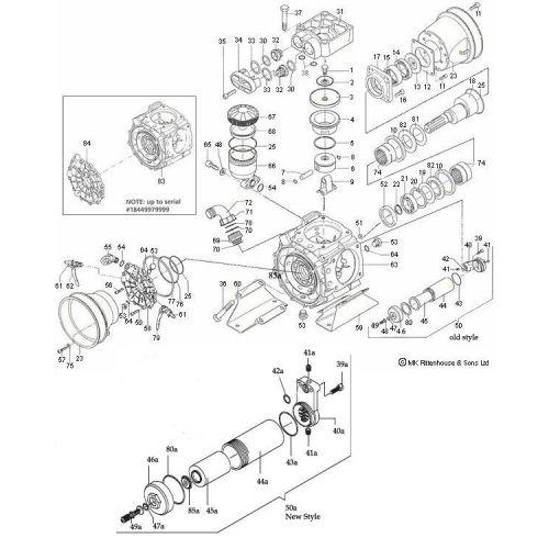 Complete parts breakdown for the Hypro D1265 Diaphragm Pump.