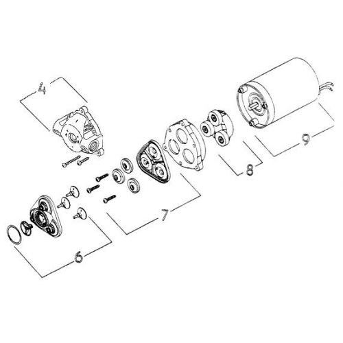 Parts breakdown for the 8000-543-290 series pump by Shurflo.