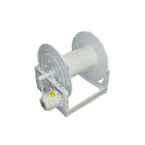 "Hannay 12-Volt 1"" NPT hose reel for high volume applications."