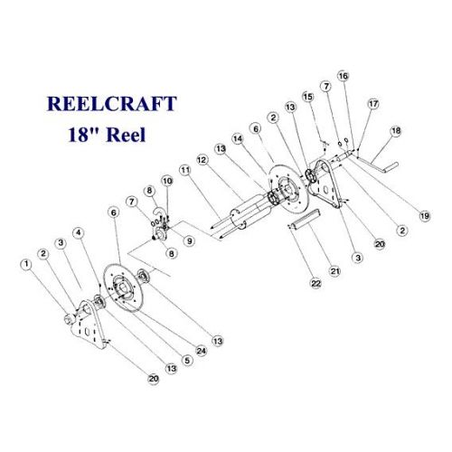 "Parts listing for the Reelcraft 18"" Reel."