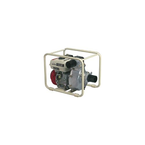 "3"" water transfer pump with protective metal roll-cage."