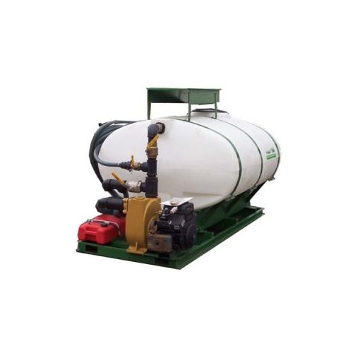 This hydroseeder has a tank capacity of 750 US Gallons.
