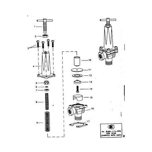 Parts listing for the 8460 Relief Valve.
