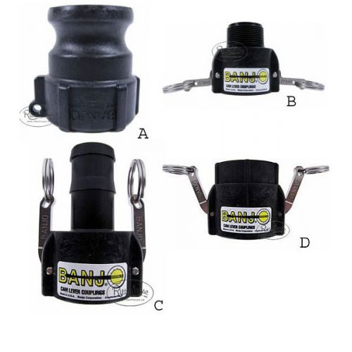 """1 1/2"""" male adapter (A) and 1 1/2"""" female couplers shown (B-D)."""