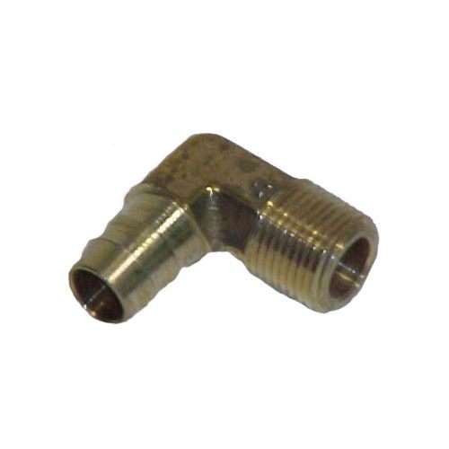 Solid Brass Hose Barb 90 Degree Elbow to male pipe.