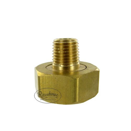 Solid brass swivel connector male pipe thread to female garden hose thread.