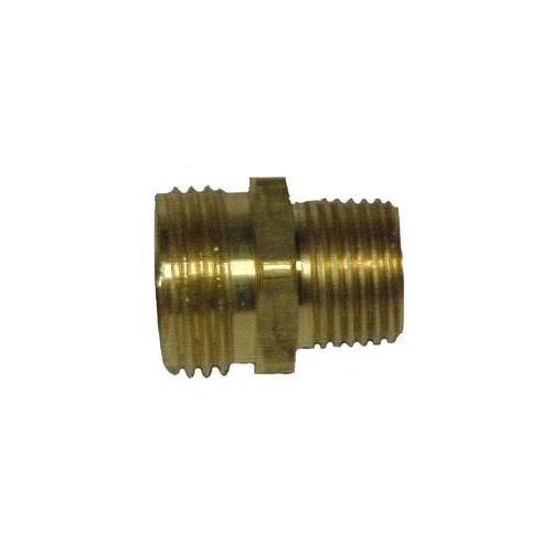 Solid brass coupling male garden hose thread to male pipe thread.