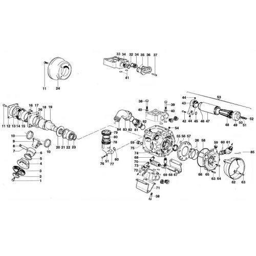 Complete parts breakdown for the Hypro D1506 Diaphragm Pump.