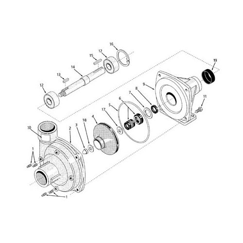 Parts breakdown for the Hypro 9204C Centrifugal Pump.