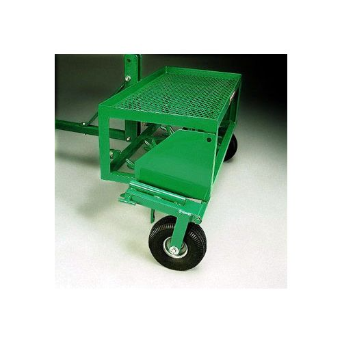 Side view of Lesco Pull-Type Aerator:  Pneumatic tires can be raised during aeration.