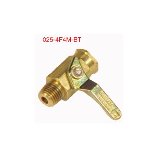 "Brass Ball Valve - 1/4"" female x 1/4"" male."