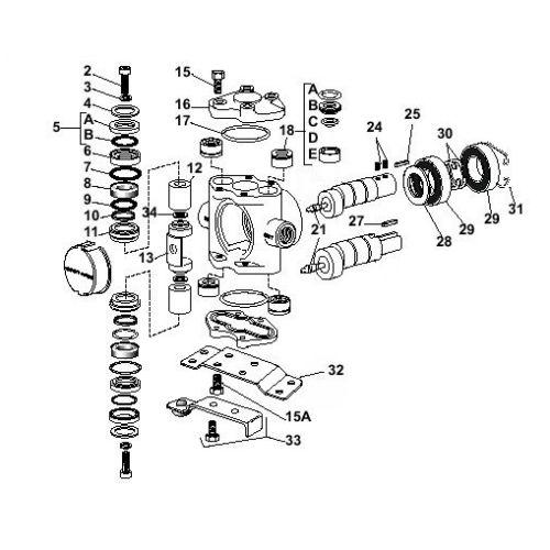 Parts breakdown for the Hypro 5322 Plunger / Piston Pumps.