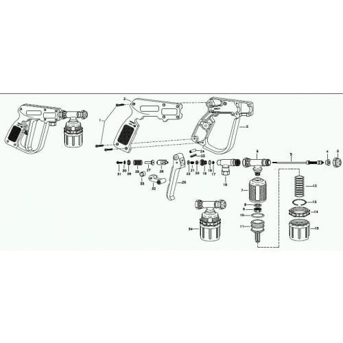 Parts breakdown for the MeterJet Spray Gun.