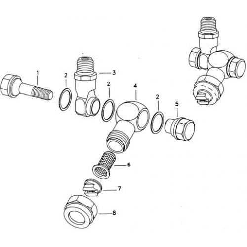 Parts listing for the Single Swivel Nozzle Holder by TeeJet.
