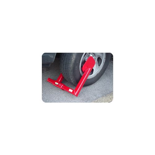 The Heavy Duty Wheel Lock will foil the plans of thieves and vandals. Shown here attached to a wheel making it impossible to easily steal your equipment. Works just like a Denver Boot Wheel Lock.