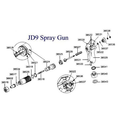 Parts breakdown for the Green Garde JD9-C gun.