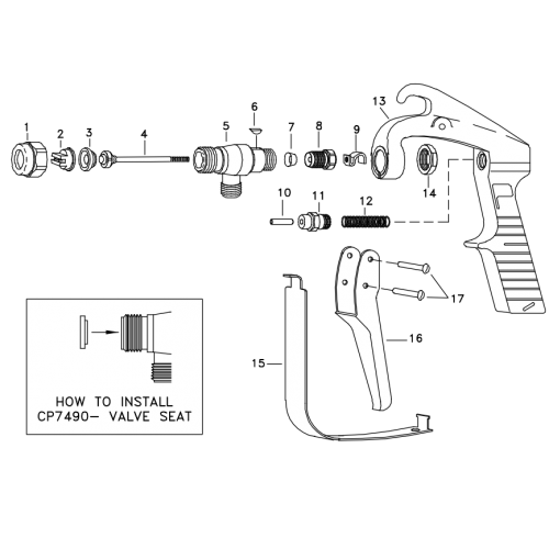 TeeJet GunJet AA23L Parts Breakdown without extension.