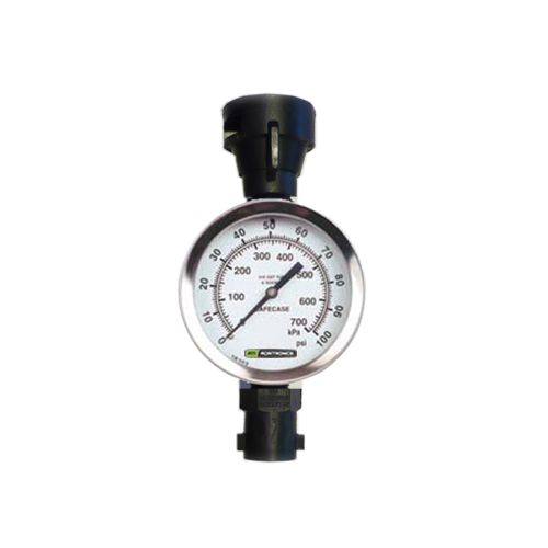 Precision, liquid-filled gauge detects pressure difference between the cab gauge and nozzles.