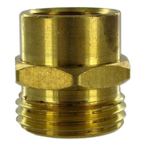 Solid brass coupling male garden hose to female pipe thread.