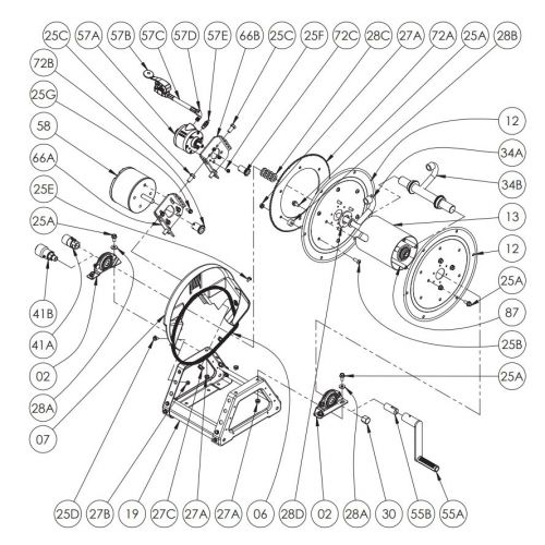 """Hannay 22"""" Power Rewind Hose Reel Parts for E1530-17-18"""