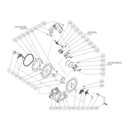 """Hannay 22"""" Power Rewind Hose Reel Parts for E1830-17-18"""