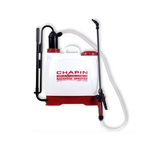 4 gallon Bleach & Disinfectant Backpack Sprayer from Chapin. Can handle up to a 50% bleach solution.