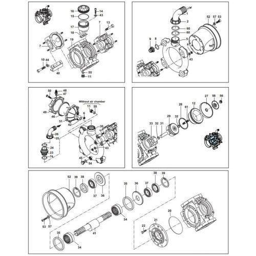 Complete parts list for the Hypro D160 Diaphragm Pump.