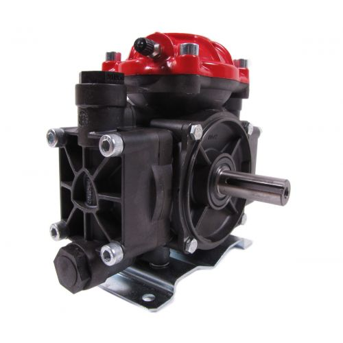 Side view of a Hypro D252 Diaphragm pump. This is the version without the gearbox and is NOT a replacement for gearbox driven pumps.  This replaces coupling or belt driven pumps only.