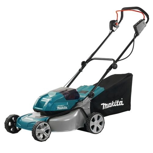 Makita DLM460Z Cordless Lawn Mower is powered by two 18V lithium-ion batteries for efficiency while mowing larger lawns.