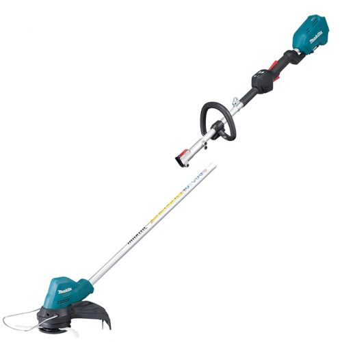 The split shaft design allows easy storage and transport, as well as attachment to various Makita couple shaft attachments, including hedge trimmers, brush cutters, and more.