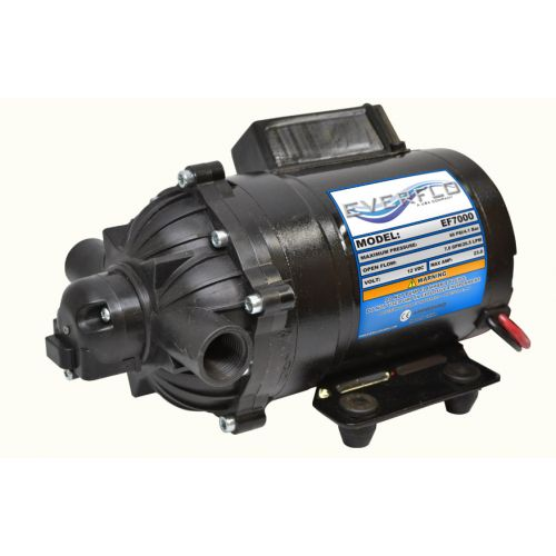"Everflo EF7000 12V Pump with 1/2"" female NPT ports."