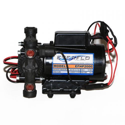 Everflo EFHP2000 High Pressure 12V Plunger Pump for spot spraying, broadcast spraying, and more.